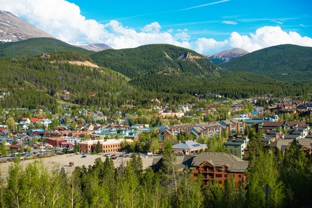 mountain view: Breckenridge Town in Summit County in Colorado, United States. Breckenridge Late Spring Panorama. Stock Photo