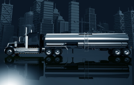 spedition: Urban Trucking Concept Illustration. Dark Blue Color Grading 3D Illustration with Semi Truck with Tanker and the City Skyline. Stock Photo