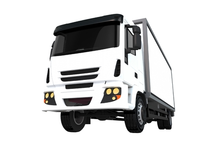 heavy duty: White Cargo Truck Isolated on White Background. Cargo Truck Front View.