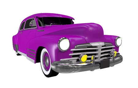 Purple Classic Car Isolated on White Solid Background. Purple Automobile Illustration.
