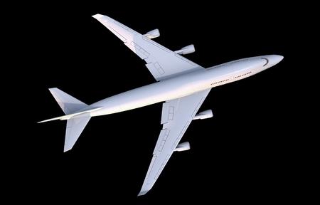 Commercieel vliegtuig Top View illustratie geïsoleerd op zwart Stockfoto