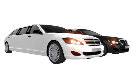 White and Black Limos. Two Limousines in Two Colors Illustration