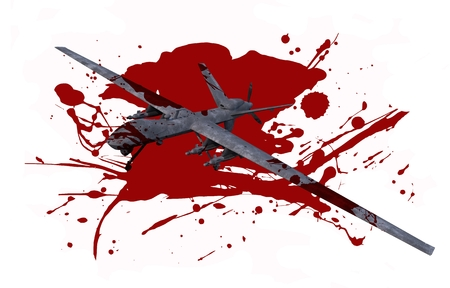 Killer Drone in Blood Isolated on White. Deadly Military Drones Operation Concept Illustration.