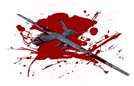drones: Killer Drone in Blood isolato su bianco. Deadly Illustrazione Militare Drones Operazione Concept.