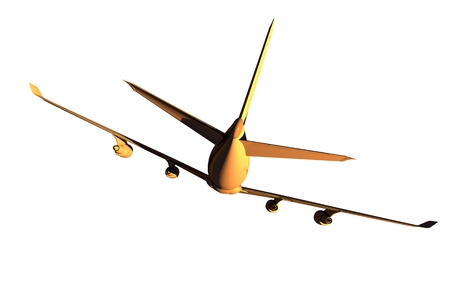 midair: Four Engine Jet Airplane Rear View. Airplane Illustration Isolated on Solid White Background.