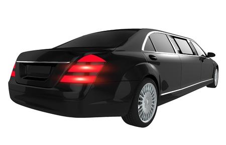 limo: Black Luxury Limousine Isolated on White. Elegant Black Limo Rear View. Stock Photo
