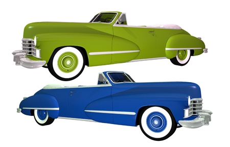 Two Classic Cars Isolated on White. Blue and Green Convertible Classic Oldtimers.