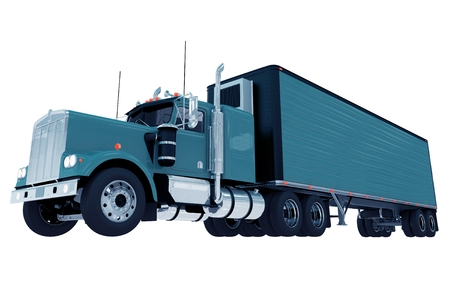 solid blue background: Blue Truck with Trailer Isolated on White Solid Background. Trucking Illustration.