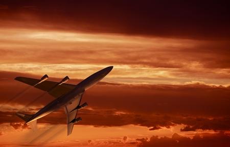 midair: Airplane Sunset Takeoff. Four-Engine Jet Airplane Flight. Air Traveling Concept Illustration. Stock Photo