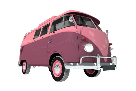 Old Cool Camper Van Illustration Isolated on White. illustration