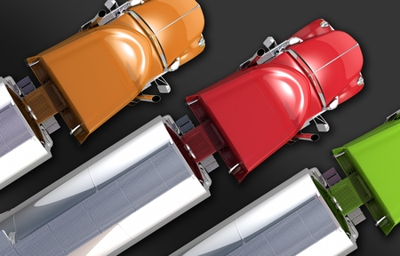 Semi Tankwagen Fleet. Drie Kleurrijke Semi Vrachtwagens met Verchroomde tankwagen. Top View Illustratie. Trucking Business Concept.