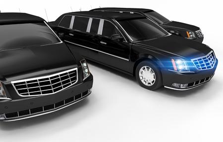 chauffeur: Luxury Limos Rental Concept Illustration. Three Black Elegant Limousines on White. Stock Photo