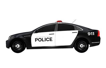 Police Car Side View Isolated on White Background. Black and White Police Cruiser. photo
