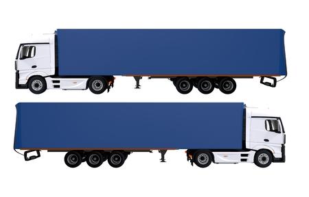heavy duty: Euro Semi Trucks Isolated on White. Blue Trailers.