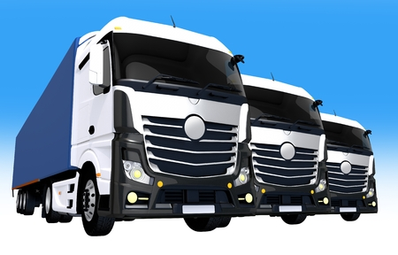 fleet: Cargo Trucks Fleet Illustration Concept. Three Euro Semi Trucks Fleet.