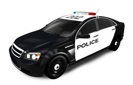 Modern Police Cruiser geïsoleerd op wit. Politiewagen 3D grafische. Stockfoto