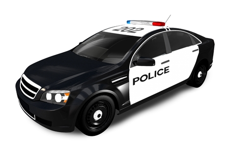 Modern Police Cruiser Isolated on White. Police Car 3D Graphic. Stok Fotoğraf