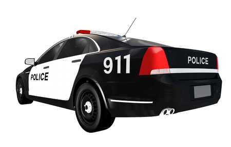 light duty: Police Car Rear View. Police Car Isolated on White.