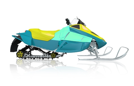 snowmobile: Snowmobile Machine Isolated on White. Snowmobile Side View Illustration 3D