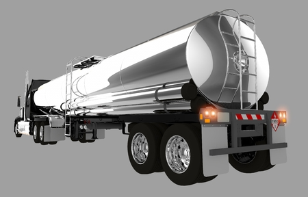 loaded: Tanker Trailer Isolated on Gray Background.