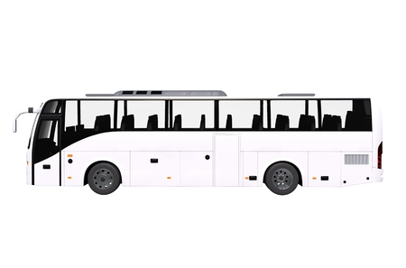 coach bus: White Bus Side View Isolated on White. Modern Coach Bus. Stock Photo