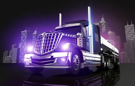 Violet Glowing Tanker-LKW und die Skyline der Stadt 3D-Illustration.