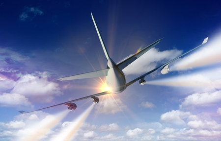 rear wing: Airplane Traveling Concept Illustration Commercial Airplane Rear View  with Contrails.