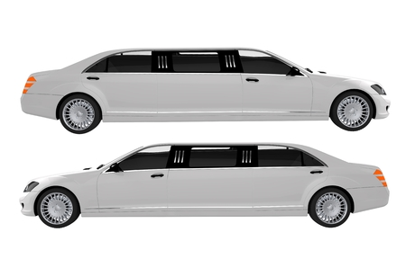 luxury cars: White Limousines Side View Illustration.