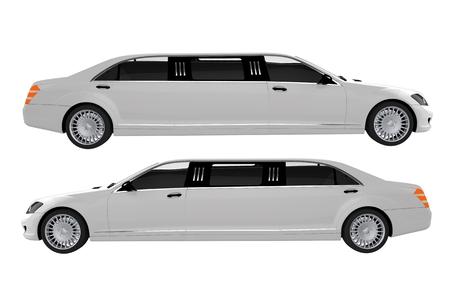 prestige: White Limousines Side View Illustration.