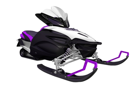 snowmobile: Purple Black Snowmobile Illustration Isolated on White