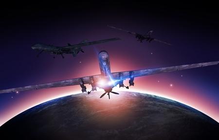 drones: Airforce Drones Mission Concept illustrazione. Militare Drones e Pianeta Terra Sunrise.