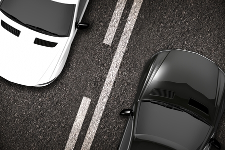Cars on the Road Closeup 3D Illustration. Two Ways Road.