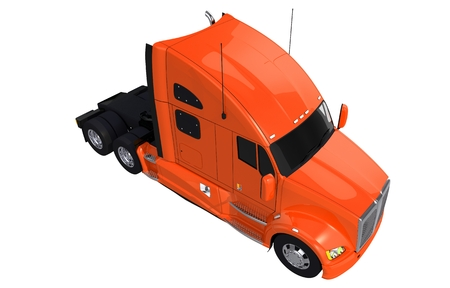 Orange Tractor Truck on White Isolated. Top View Truck. Stock Photo
