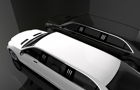 rent: Black and White Limousine. Luxury Limos For Rent Concept Illustration. Two Limousines Top View.