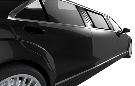 Black Limousine Side View Closeup Illustration on White.