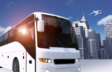 White Coach Bus in the City Illustration. Modern Bus and the Skyline. Stock Photo
