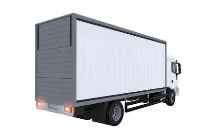 rear view: Cargo Euro Truck Isolated Rear View Illustration.  Stock Photo