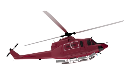 Red Rescue Chopper Isolated on White. Rescue Helicopter 3D Render Illustration.