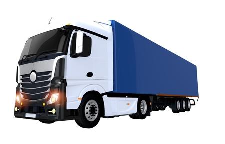 Euro Semi Trailer Truck Illustration Isolated on White. Semi Truck with Blue Trailer.