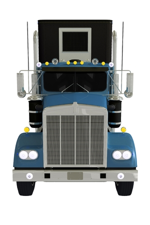 Semi Truck Front Isolated 3D Illustration.