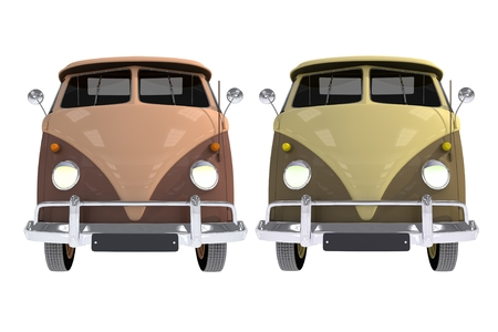 Cool Campers Front View. Vintage Camper Vans Illustration Isolated on White.