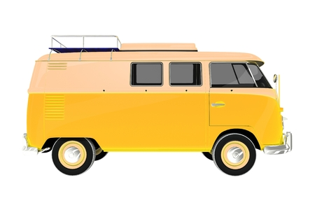 Yellow Camper Van Vintage Style Isolated on White Background. Camper Side View. photo