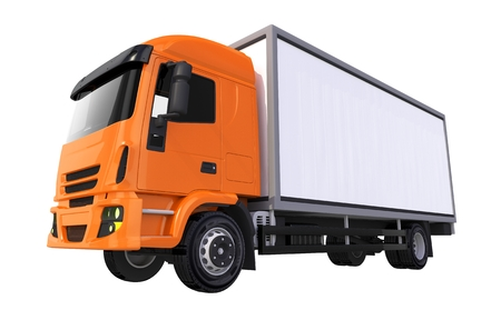 heavy duty: Orange Cub Cargo Truck 3D Illustration Isolated on Solid White Background. Cargo Truck Graphic. Stock Photo