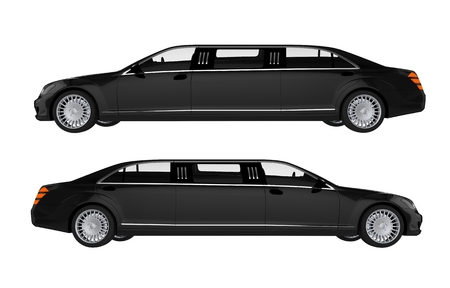 chauffeur: Two Side View Limos. Black Limousines Illustration. Stock Photo
