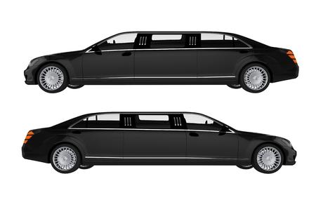 prestige: Two Side View Limos. Black Limousines Illustration. Stock Photo