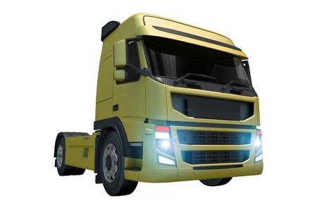 緑のトラクターのトラックは、白で隔離。トラクターでユーロ スタイル。 写真素材