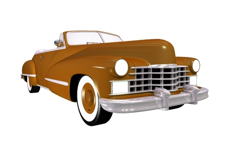 collectible: Vintage Convertible Classic Car. Brown Classic Isolated on White.