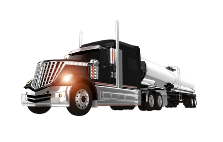 haul: Black and Chromed Tanker Semi Truck Isolated on White. 3D Semi Truck Tanker Illustration. Stock Photo