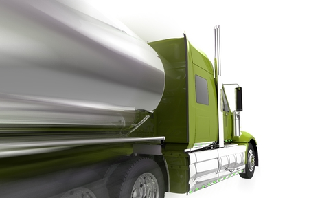 haul: Speeding Semi Truck Isolated on White. Tanker Trailer Truck Closeup Side View.
