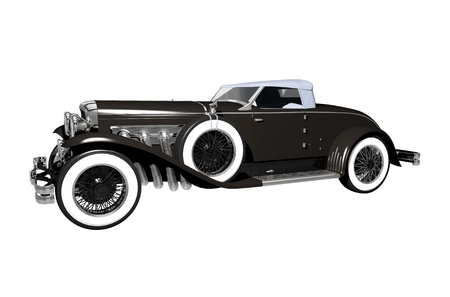 collectible: Elegant Luxury Classic Car Convertible Version. Classic Car Isolated on White. Stock Photo